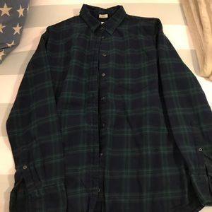 Jcrew Navy and Green Flannel S